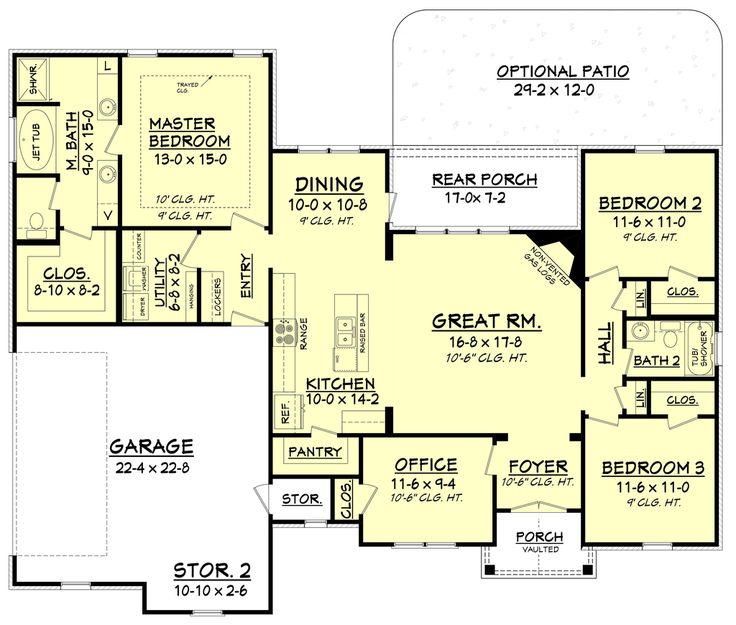 Craftsman Style House Plan - 3 Beds 2 Baths 1769 Sq/Ft Plan #430-99 Floor Plan - Main Floor Plan - Houseplans.com