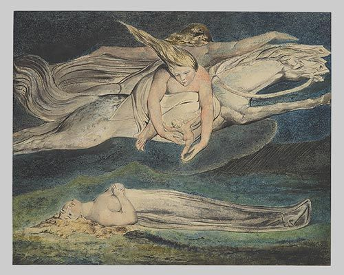 "This is a picture of a painting that was done by William Blake. The painting is titled ""Pity"" and was the first large color print produced by the artist. Along with this picture is also a short article that goes into detail about this specific painting."