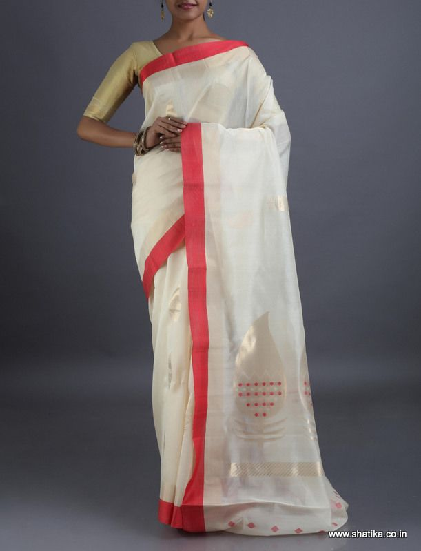 Bhavana Pristine White and Red #CoimbatoreSilkCottonSaree