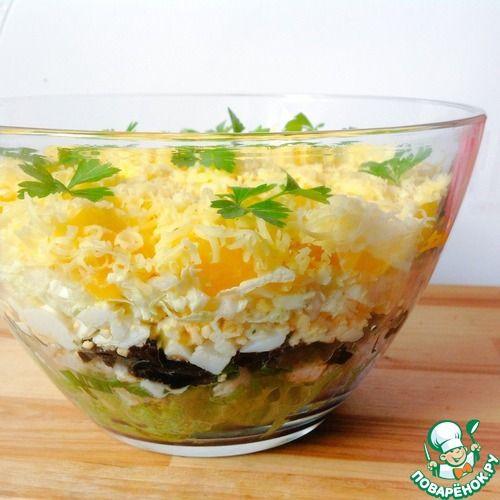 """Слоеный салат с курицей """"Осенний"""" - кулинарный рецепт"""