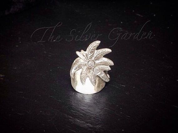 Solid Silver Palm Tree Spoon Ring, Holiday Ring, Tropical Ring, Teaspoon Ring, Spoon Jewellery, Silverware Ring, Gift, Eco Friendly, Kitch
