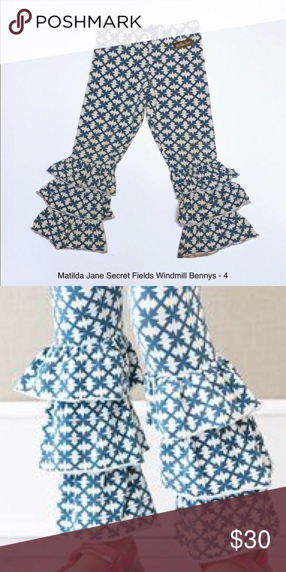 Matilda Jane Secret Fields Windmill Bennys - 4 Matilda Jane Secret Fields Windmill Bennys - 4.  Blue/white triple ruffle leggings pants icings. Super soft!  Cross posted so snap them up! Matilda Jane Bottoms