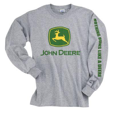 John Deere Sport Grey Long Sleeve Trademark Adult XLarge T-Shirt
