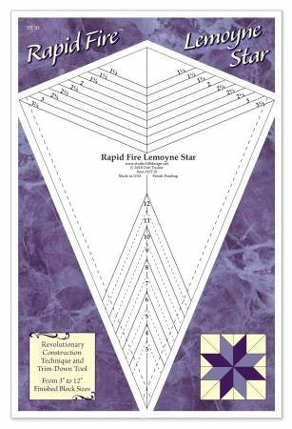 Rapid Fire Lemoyne Star Ruler Udt10 Etsy Lemoyne Star Template Quilting Tools