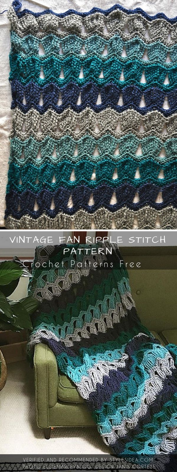 Vintage Fan Ripple Stitch Crochet Pattern Free | Pinterest | Vintage ...