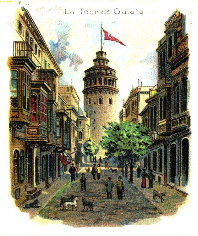 intro-1895 Max Fruchtermann , Avusturya-Macaristan, o bir çerçeveleme dükkanı açtı, 1876 yılında İstanbul'a geldi. Sermayenin kartpostallar anıları ilk serisi basılmış 1895.    Galata Kulesi 1900 öncesi  litografi 24.  29 x 13 cm - Koleksiyon Yılmaz Aysan