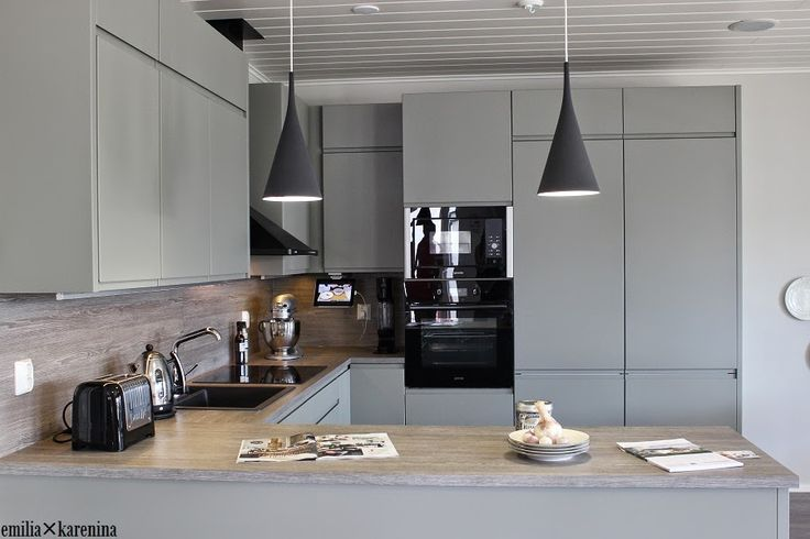 Lovely gray kitchen in Kanerva V-96 - Asuntomessut 2014 housing fair.