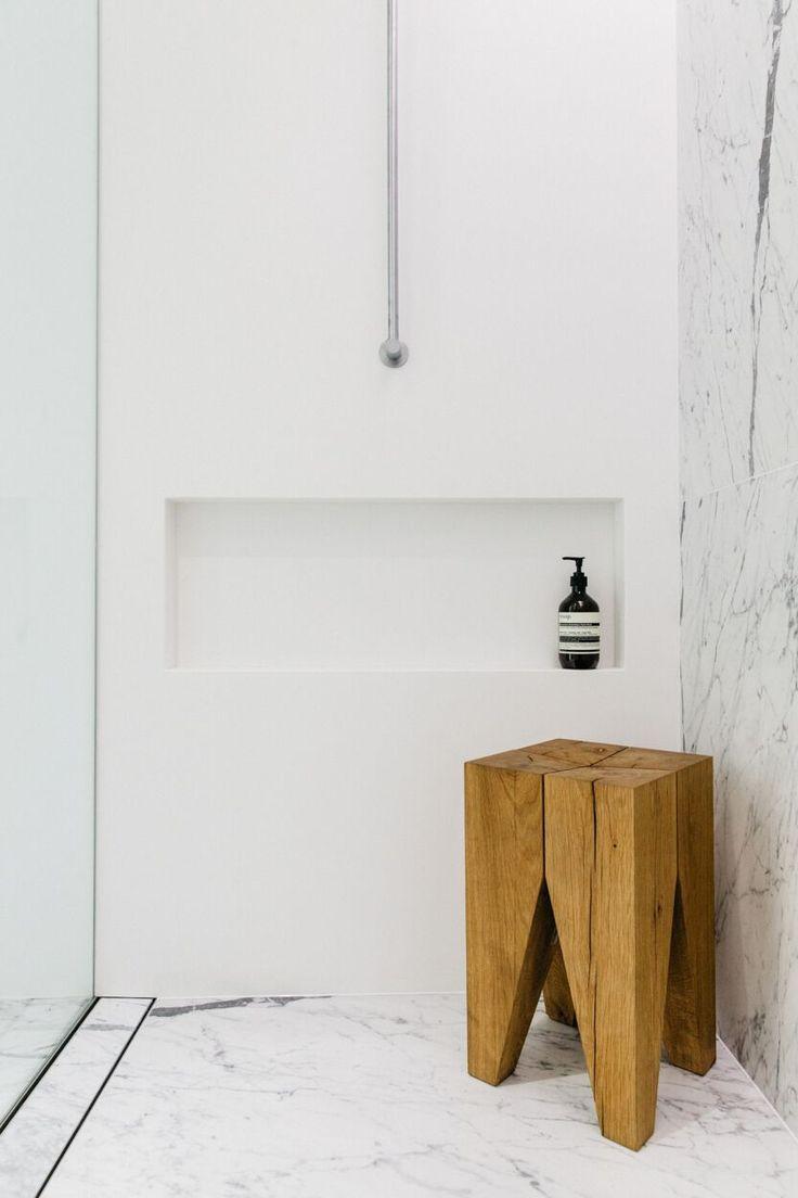 Bathroom essentials: Carrara marble, Aesop soap and the e15 BACKENZAHN™ stool by Philipp Mainzer. / www.e15.com #e15 #oak