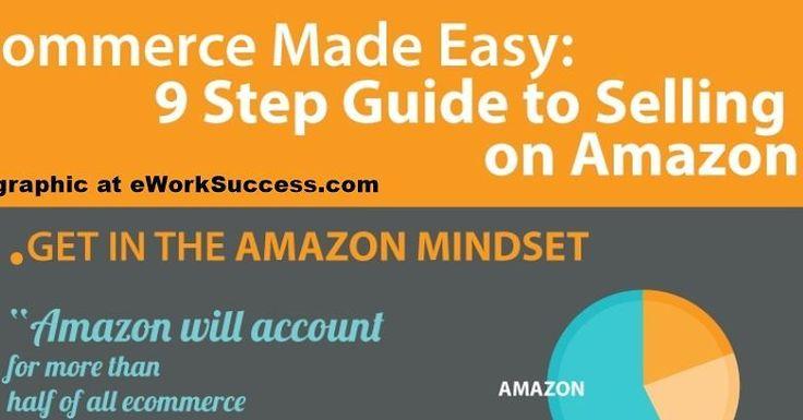 Free Infographic: 9 Steps to Selling on Amazon. Fee at eworksuccess.com #amazon #sidehustle #onlinebusiness #fun #ework #eworksuccess #free #lifeisgood