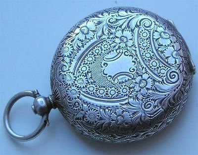 antique SOLD SILVER FOB WATCH CASE - RE USE OR LOCKET JEWELLERY NECKLACE  pocket