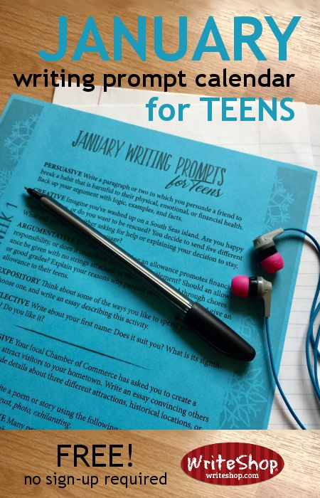 January writing prompt calendar for teens grades 6-12• free from WriteShop