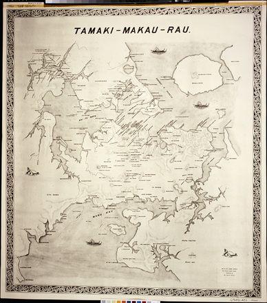 Tamaki Makau Rau map of Auckland. Maori place names not readable. Auckland Museum collection. http://www.teara.govt.nz/en/map/1017/maori-place-names
