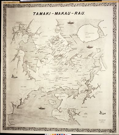 Tamaki Makau Rau map of Auckland. Maori place names not readable. Auckland Museum collection. http://www.teara.govt.nz/en/map/1017/maori-place-names