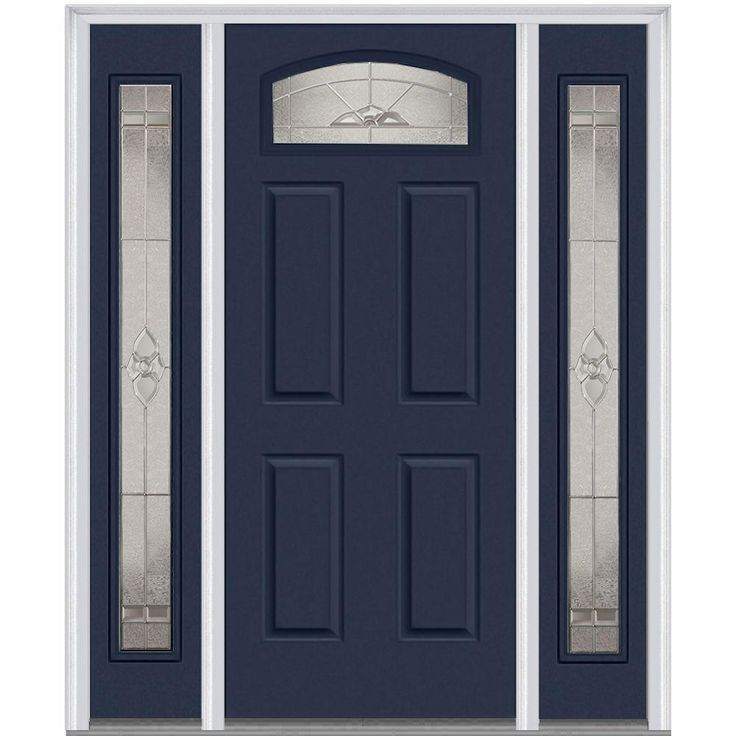 Milliken Millwork 64.5 in. x 81.75 in. Master Nouveau Decorative Glass 1/4 Lite Painted Majestic Steel Exterior Door with Sidelites, Naval