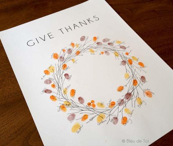 Cute thumprint Thanksgiving wreath!