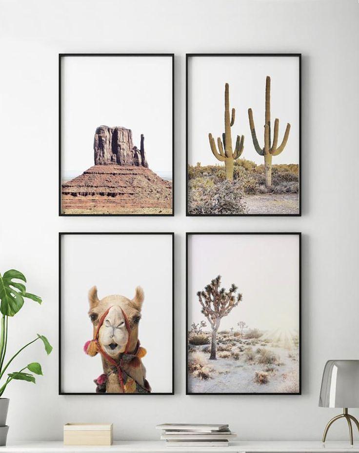 Desert Landscape Set Of 4 Prints Desert Wall Prints Boho Home Decor Wall Art Photography Cactus Wall Art Art Gallery Wall Desert Art