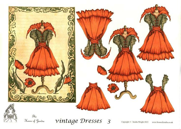 The House of Zandra decoupage - Vintage Dresses 3