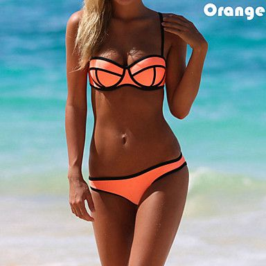 Loving the pop of orange on this bikini. It also comes in mint, light pink, bright pink and white.