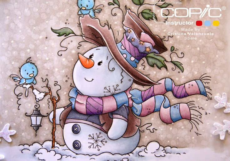 http://copicmarkerspain.blogspot.ca/2015/01/good-times.html -  Background: W1, W3, Blender. Snow and Snowman: C1, C3, B000, C00. Hat and vest: E70, E71, E74, E77. Nose: E97, E95. Blue: B91, B93, B95. Lilacs and violets: RV91, RV93, RV95, V17, V15, V12. Shirt buttons: BV23, BV25, BV20. Farol: C1, N3, N1. Birds: B32, Y38. Leaves: BG96, G82, G85. Staff: E13, E35.