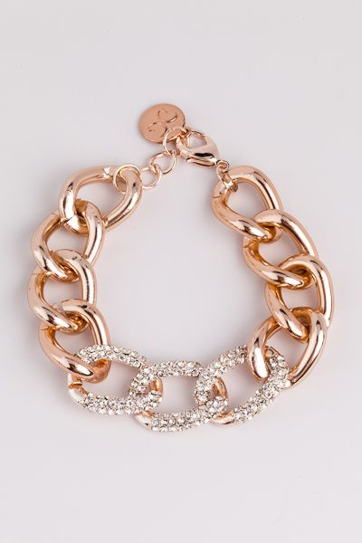 Rose Gold Pave Chain Link.