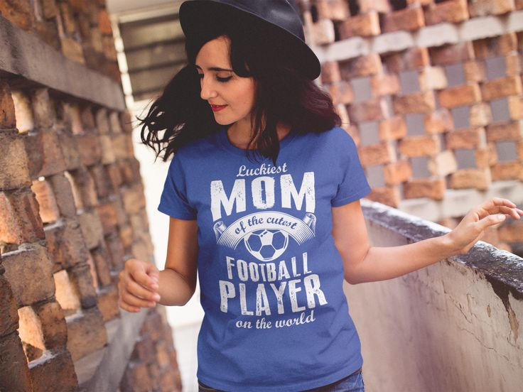 Luckiest Mom of the cutest Football Player on the World - Mother's Day - Mom's T-Shirt - Women's T-Shirts #Football #Soccer #MothersDay2017 #MothersDay ** Printed in the UK
