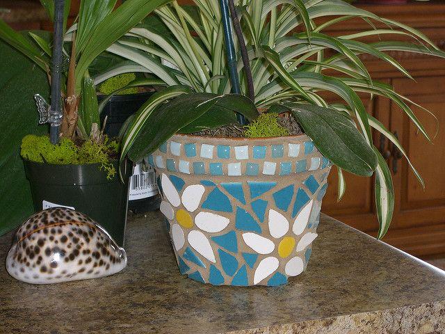 mosaic flower pot   terra cotta pot, ceramic tile   Crystal Andrews   Flickr