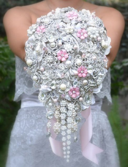 repurposed jewelry wedding bouquet...This is super cool!  Hittin' up the thrift stores!