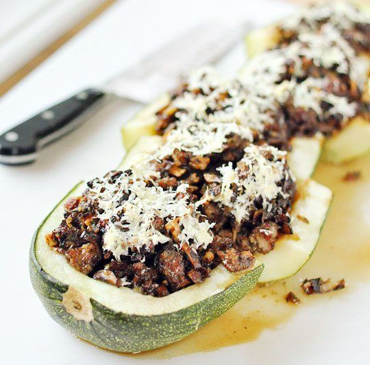 ... one...Recipe: Giant Zucchini Stuffed with Sausage, Mushrooms & Sage