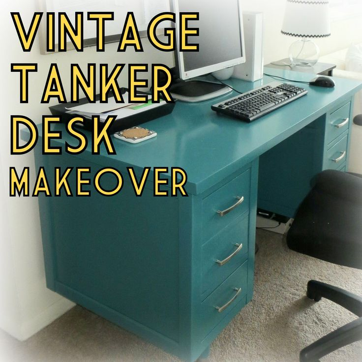 vintage MCM wood tanker desk paint furniture makeover teal turquoise home office