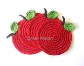 Red Apple Crochet Coasters . Apple Season Cherry Wine Carmin Scarlet Beverage Green Passion Tomato Natural Benefits Curative Properties