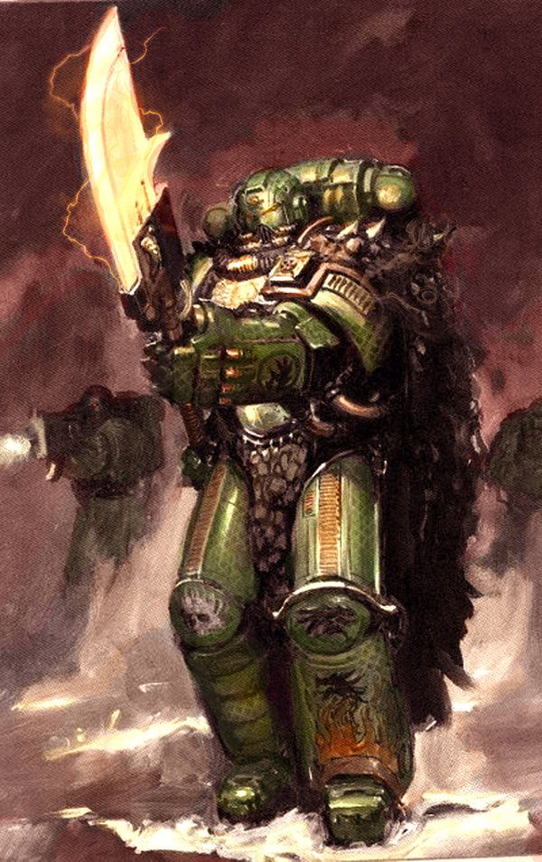 Warhammer 40k. Space Marines, Forgefather Vulkan He'stan of the Salamanders Chapter. Artwork from the Space Marines Codex, but colors done by Majestic Chicken (Check him out of DeviantArt for some more really great color Warhammer art!)