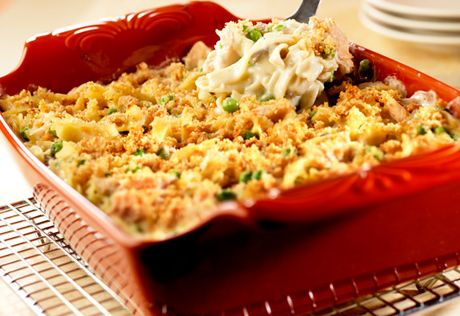 You won't believe how easy it is to make this classic casserole featuring that favorite combination of tuna, noodles, peas and cream of mushroom soup. This version serves 8, so everyone can dig in!