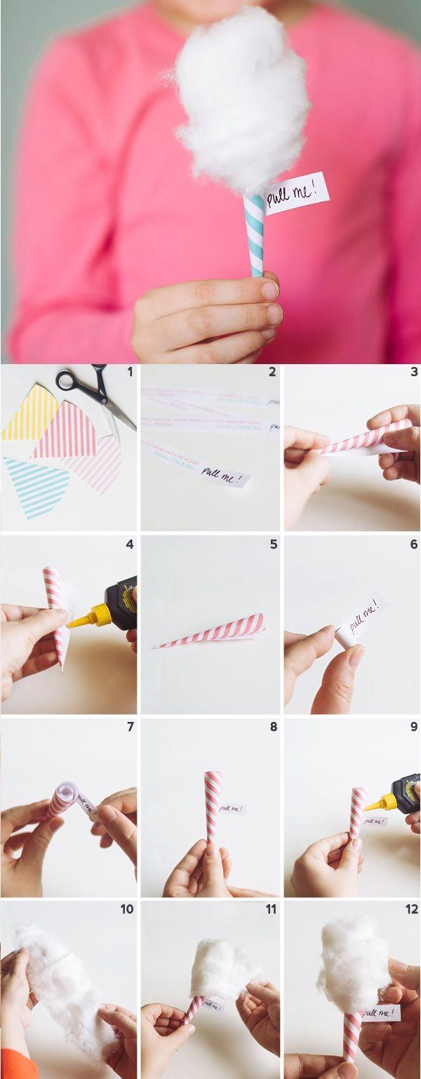 """Fabriquer une invitation en forme de barbapapa à dérouler / DIY Mini Cotton """"Candy"""" Invitations"""