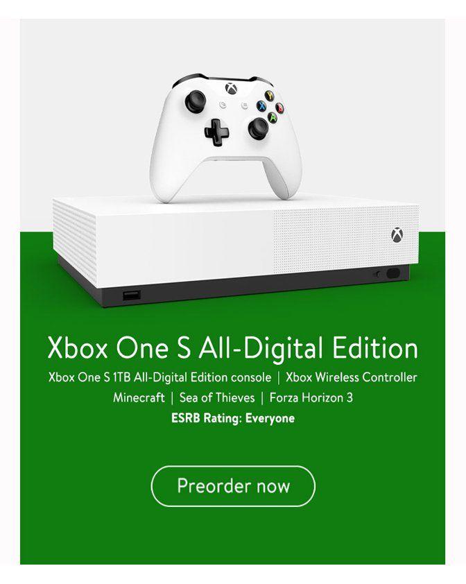Microsoft Xbox One S 1tb All Digital Edition Console Disc Free Gaming White Njp 00024 Walmart Com Xbox One S Xbox One Xbox One S 1tb