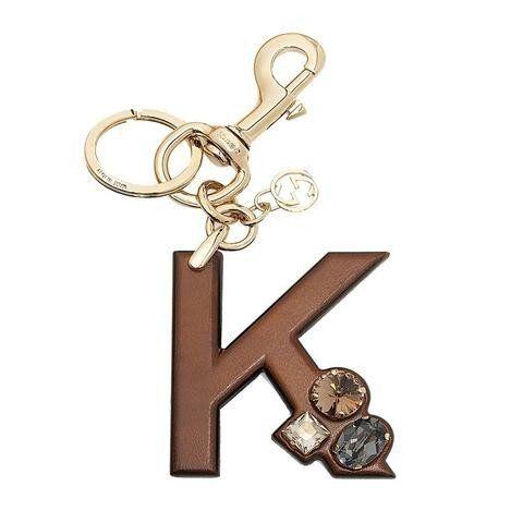 GUCCI  Gucci 'K' Brown Leather Key Ring Handbag Charm with Swarovski Crystals 369487