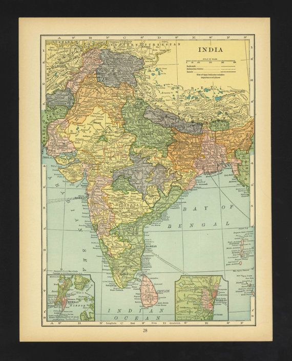 Vintage Map India From 1930 Original by ManyPlacesMaps on Etsy
