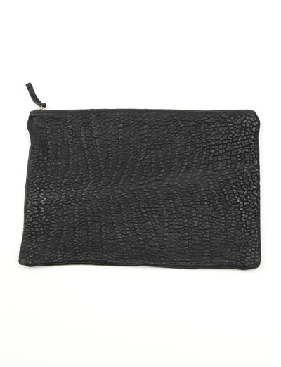 Clare Vivier Oversize Clutch- Black Pebble