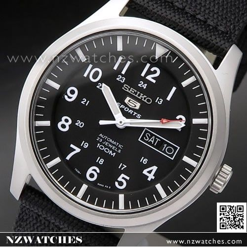 Seiko 5 Military Black Automatic 100m Mens Nylon Watch SNZG15K1, SNZG15