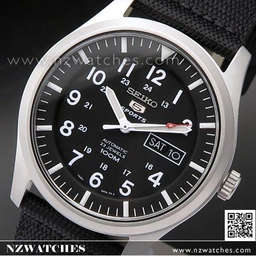 Seiko 5 Military Black Automatic 100m Mens Nylon Watch SNZG15K1, SNZG15