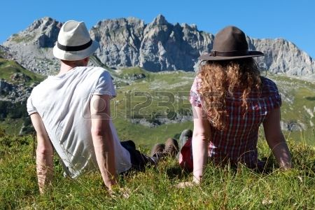 Young people make a short break during a hiking tour in the Austrian Alps Stock Photo - 15009917