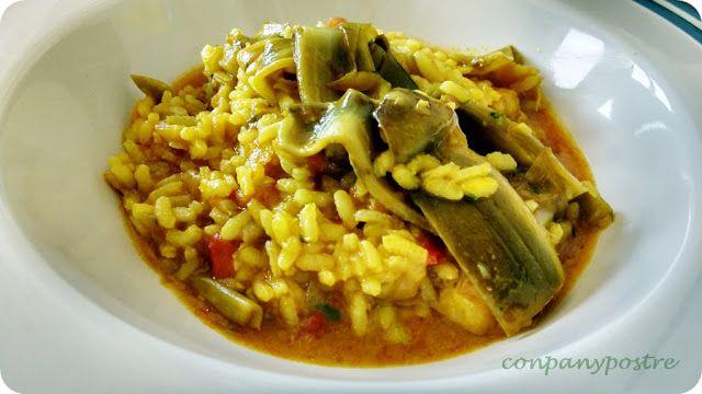 Con pan y postre: Arroz caldoso con bacalao y alcachofas / Rice with...