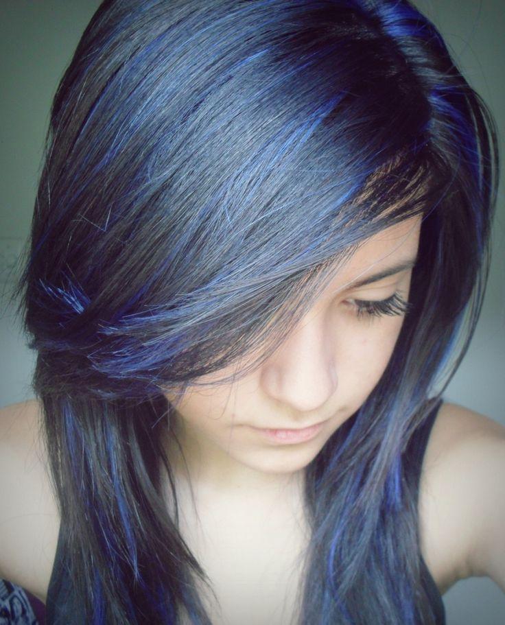 hairstyleHair Colors, Blue Streaks In Hair, Beautiful, Blue And Black Hair, Hair Style, Black To Blue Hair, Favourite Hairstyles, Colors Hair, Blue Streaks In Black Hair
