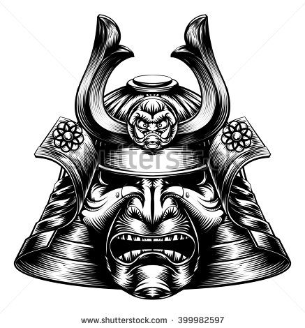 A Japanese samurai mask and helmet in a woodcut style - stock vector