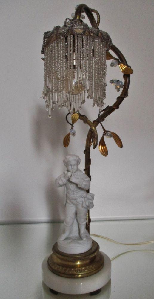 Lampe Gui Art Nouveau Bronze Perles Opalescentes Biscuit