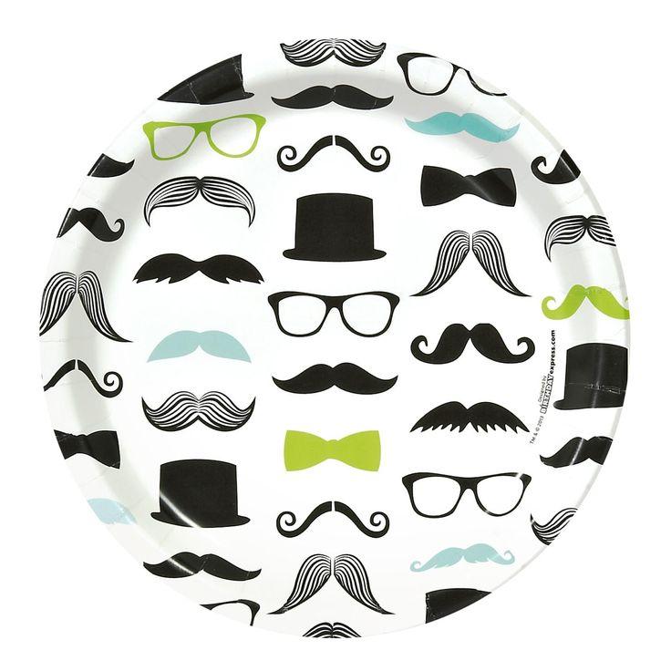 Mustache Man Dinner Plates (8) | BirthdayExpress.com