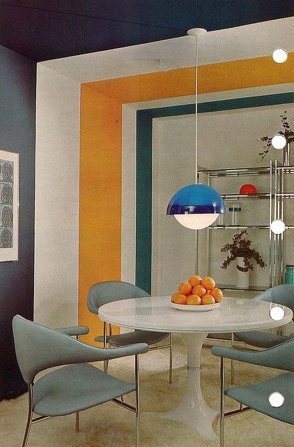 Funny structure, geometric shapes such as likes, plays with the colors. '50s, '60s, '70s furniture.
