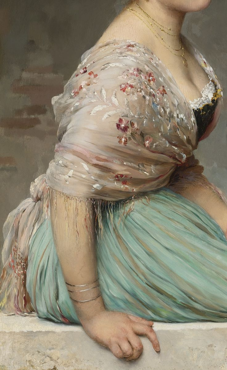 detail from contemplation | eugene de blaas | 1893