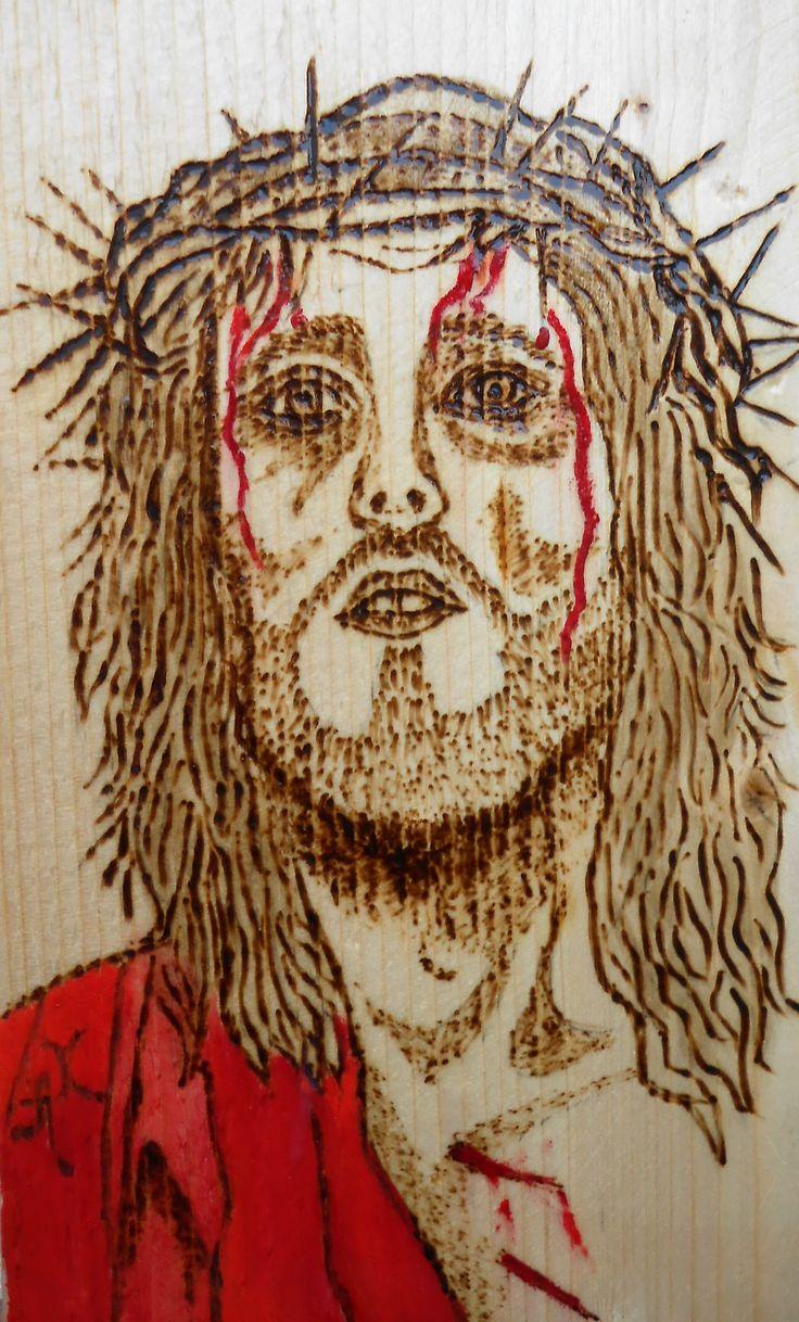 Ο Iησούς Χριστός Η εβδομάδα των παθών Πυρογραφία και ακρυλικά χρώματα  11x18 cm Jesus Christ The Passion Week Pyrography and acrylic paints. 11x18cm