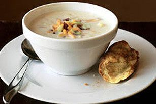 Bacon, Cheese & Potato Chowder recipe ~ I make this all the time, but I add a can of chicken broth to the potatoes first to par cook them a little and just throw the bacon in near the end.   I have Hot Ham and Cheese sandwiches with the soup.  Super easy.  Super good!  If yo don't like the extra chunks of potatoes from the condensed soup, puree it or add cream of mushroom instead.