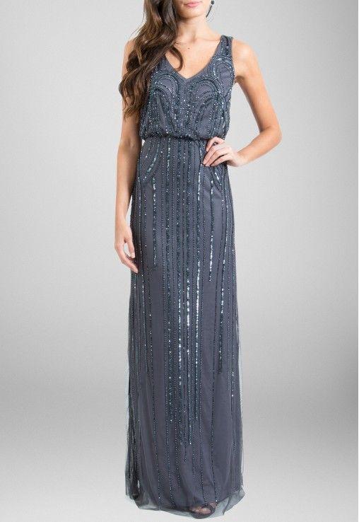 321ac6170 POWERLOOK - Aluguel de Vestidos Online - Vestido Herta longo de alças todo  bordado no tule Adrianna Papell - chumbo  adriannapapell…